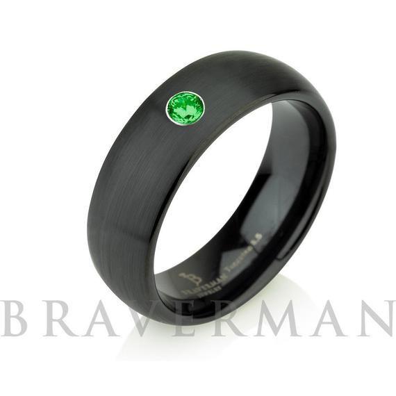 Black Tungsten Wedding Band Green Emerald Band Brushed 8mm Etsy Black Tungsten Wedding Band Black Tungsten Rings Black Wedding Band