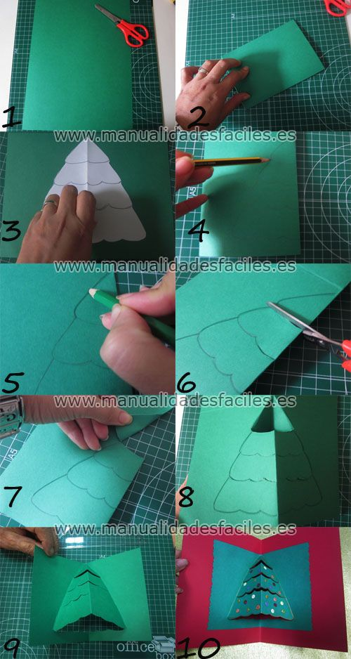 Necesitaremos   -cartulina DIN-A4 en color verde y rojo      -tijeras, pegamento en barra      -lentejuelas, marcador oescarcha dorada.            1. marcamos la mitad de la hoja de cartulina      2. doblamosy cortamos por la mitad de la ...