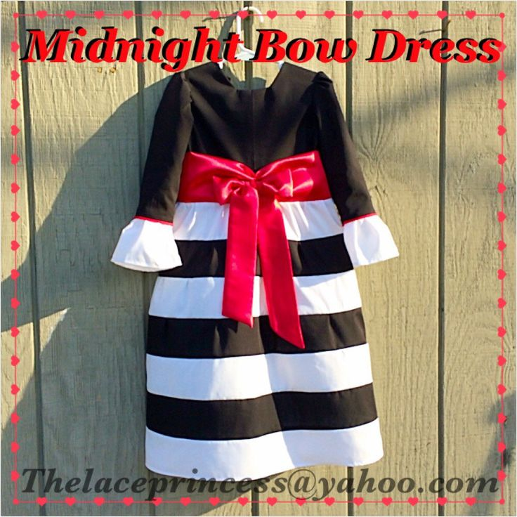 Black and white striped accented in red! For girls and toddlers special occasion dress outfit! Custom! Thelaceprincess@yahoo.com