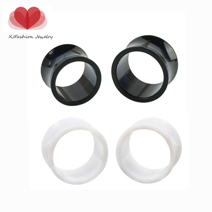 Ear expander Piercings 3 - 16 mm acrylique noir Double Flared creux oreille Tunnels Plugs 1 par oreille Piercings goujons Plugs bijoux de corps
