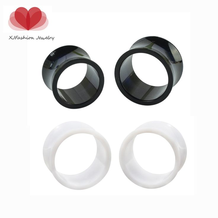 Ear expander Piercings 3-16mm Acrylic Black Double Flared Hollow Ear Tunnels Plugs 1 Pair ear piercings studs plugs body Jewelry