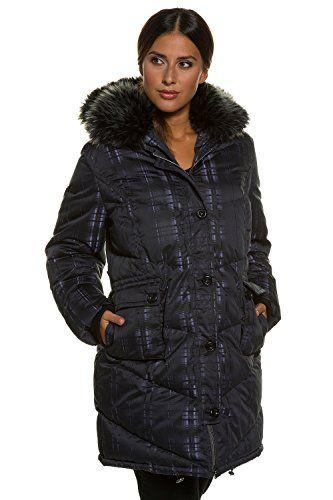 Ulla Popken Womens Plus Size Stripe Design Down Coat Black Multi 1618 707070 10 >>> Click image for more details. (Note:Amazon affiliate link)