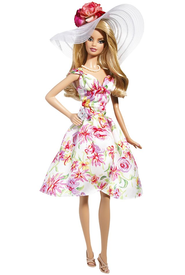 Kentucky Derby Barbie Doll- Pretty floral dress and gorgeous hair!