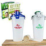 Protein Shaker Bottle Best Double Sports Drinks Hydration 28 OZ Water Storage BPA Free Plastic Cups (Silver/Green)