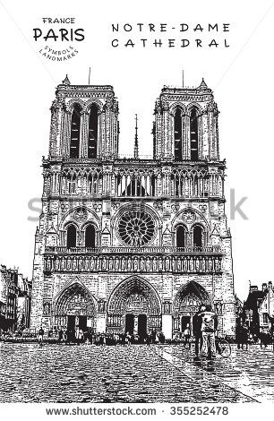 Paris - France. Notre Dame ?athedral. Vector illustration.