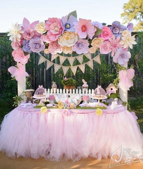 Floral decoration for gift wall/ table - paper flowers banner - shabby chic, garden, floral, tea party, spring