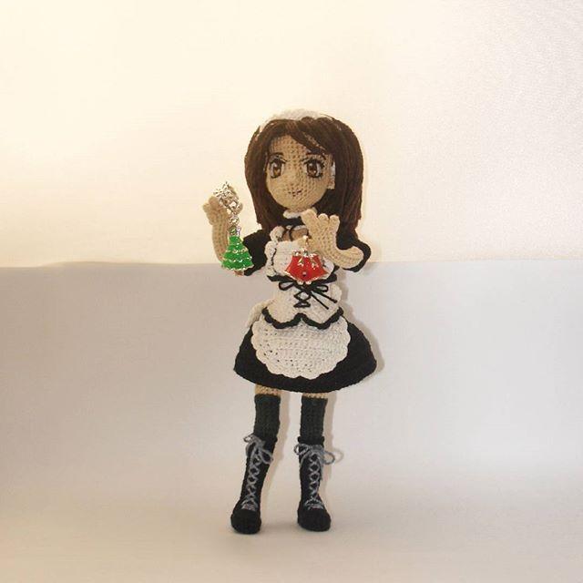 """Очень милая, скромная девушка, но с пробивным характером. Милашку зовут Миса-тян из аниме """"Президент - горничная!/Kaichou wa Maid-sama!"""" Рост примерно 16 см, проволочный каркас, одежда не снимается, стоит самостоятельно без опоры. #amigurumi #вязанныеигрушки #вяжуназаказ #maidsama #misakiayuzawa #kaichouwamaidsama"""