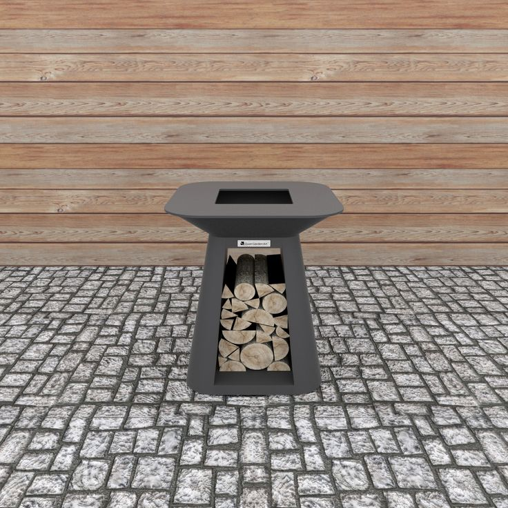 Rondo Mini Carbon  Smaller, more compact Quan fireplace with wood storage.  Dimensions (mm): H 900 W 800 D 800