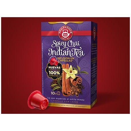 Spicy Chai Indian Tea #pompadour EL TÉ MÁS DESEADO DE LA INDIA El auténtico Masala Chai exquisitamente especiado con canela, vainilla y regaliz, con una delicada nota picante final.Para disfrutar sólo o con leche añadida.Té negro:El aroma tradicional y robusto del té. Fusión de especias:Pimienta, cardamomo, clavo y anís estrellado. Vainilla y canela:El delicado y refinado toque final. Ingredientes: Canela, Té negro, raíz de Achicoria, aroma natural de especias, hojas dulces de Zarzamora