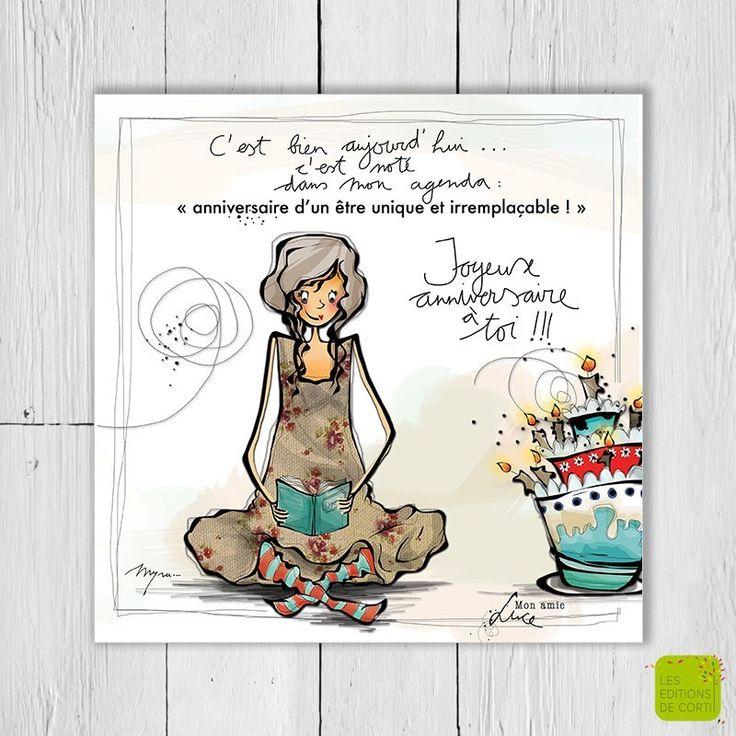 C'est bien aujourd'hui ... c'est noté dans mon agenda: Anniversaire d'un être unique et irremplaçable - Carte postale illustrée par Myra Vienne - www.editionsdecortil.com