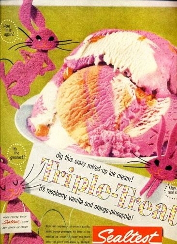 Image detail for -... ICE CREAM CRAZY TRIPLE TREAT FRAMEABLE ART Vintage Magazine Ad 1956