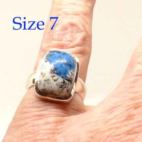 K2 = Azurite flowers in white Granite | Ring US size 7 | 925 Sterling Silver | Oblong Cab | Spiritual insight grounded relaxed | Crystal Heart Melbourne  1986