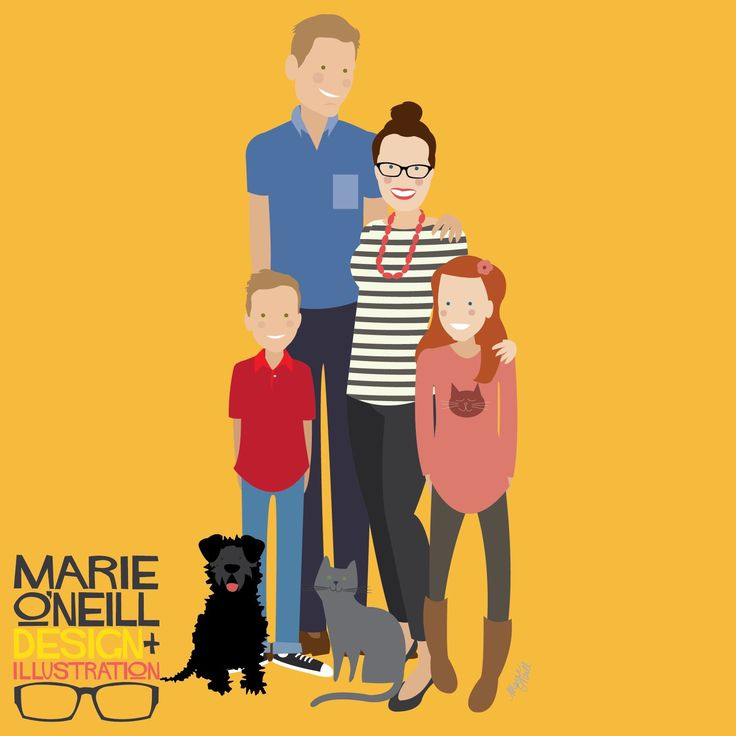Custom illustrated family portrait by Marie O'Neill