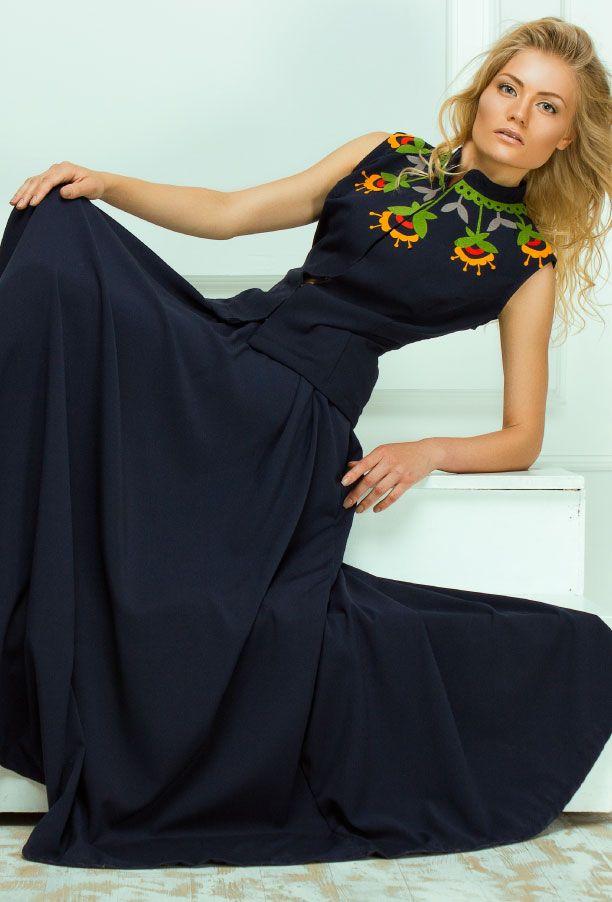 Костюмы : Синий костюм:длинная юбка и жилетка