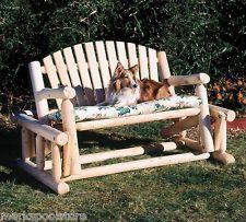 New Rustic Cedar Glider Patio Garden Outdoor Wood Log Furniture Swing Rocker Part 51