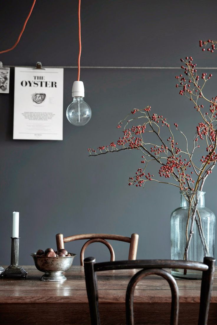 One Swedish apartment, two different ways of doing grey.  love the berries in vintage jar, find more at http://www.homebarnshop.co.uk/shop/vintage-christmas/book-page-paper-bauble/