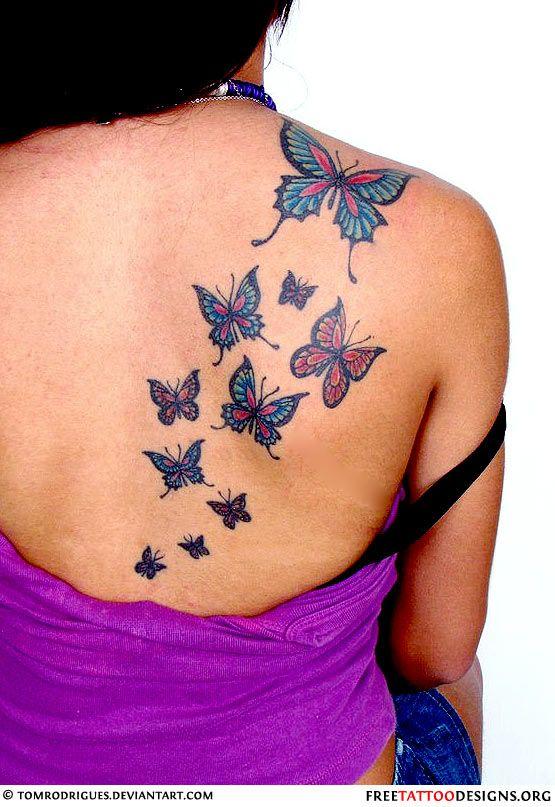 Butterflies tattoo on a woman's back