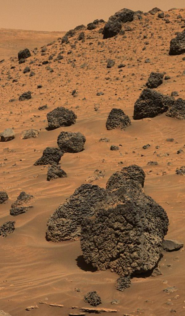 What created this unusually textured rock on Mars?