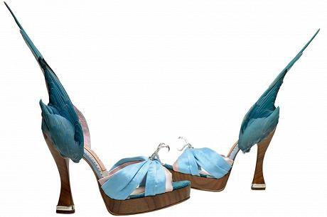 Caroline Grovesin (s.1959) suunnittelemat papukaijakengät (2014) nahkaa, silkkiä, satiinia.