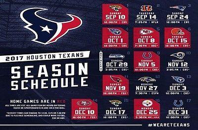 "2017-18 HOUSTON TEXANS NFL FOOTBALL SCHEDULE SEASON FRIDGE MAGNET (LARGE 6.5""X4)"