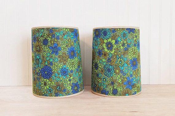 Mid Century Pair of Blue and Green Lamp Shades Mod Lamp Shades