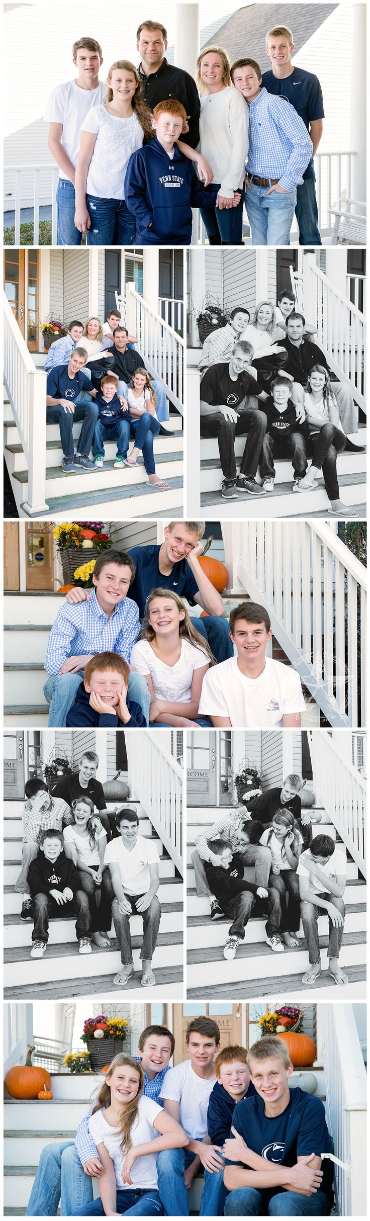 Family Photography, Large Family Portraits, Five Kids, Family of Seven, Front Porch Photos