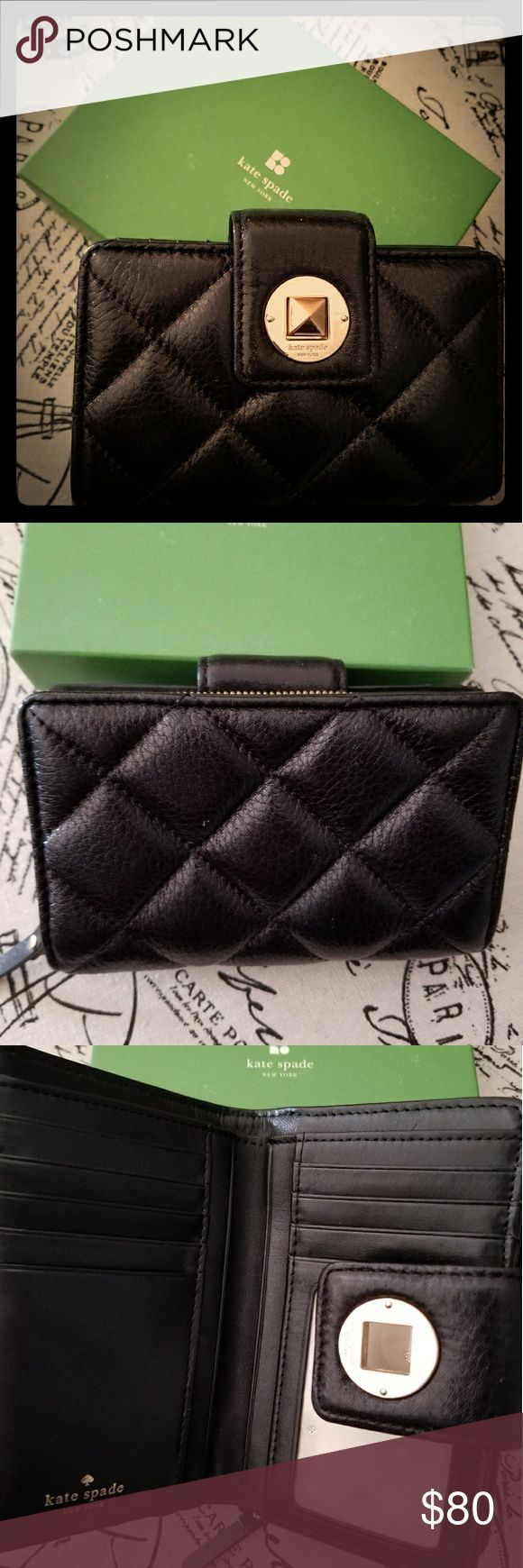"""Kate Spade """"Gold Coast Jules"""" Wallet in Black Beautiful like new Kate Spade leather wallet. Black with an iridescent sheen. Turn lock closure, zippered coin purse on back. ID window, multiple card slots and space for cash. Box included. Bundle with my Kate Spade Gold Coast Lilou tote listing! kate spade Bags Wallets"""