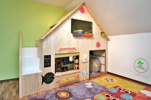 Kinderzimmer einrichten IKEA Hochbett umbauen in Kaufmannsladen