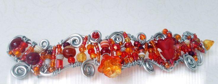 Orange Rot Silber Blütenmeer Blumen/Meerjungfrau Fee Elfenprinzessin  30 gr.