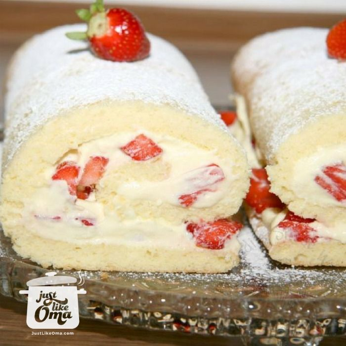 Delicious cream roll is filled with whipped cream and fresh fruit. Easy to make, http://www.quick-german-recipes.com/cream-roll-recipe.html and so-o-o easy to eat :)
