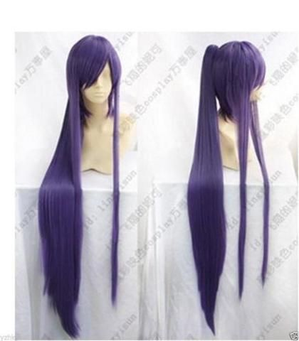 Hot Sell! New Long Vocaloid Miku Gakupo Purple Cosplay Wig Clip On Ponytails