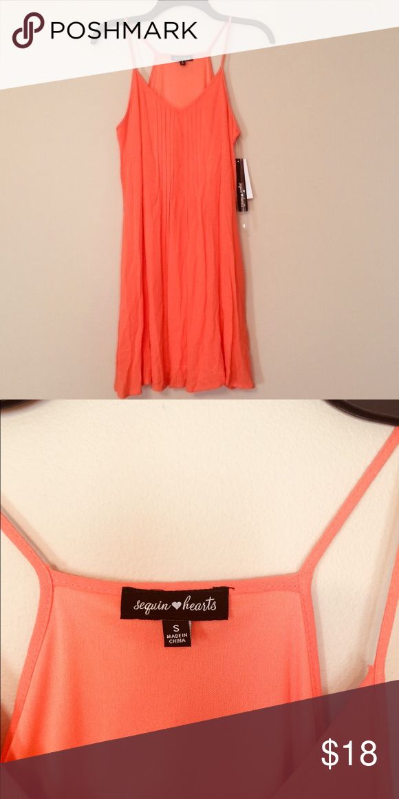 Orange/tangerine Dress V-neck with small pleats in the front. New with tags. Sequin Hearts Dresses Mini