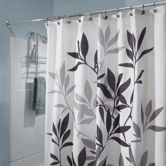 Interdesign Black And Gray Leaves Fabric Shower Curtain Purple