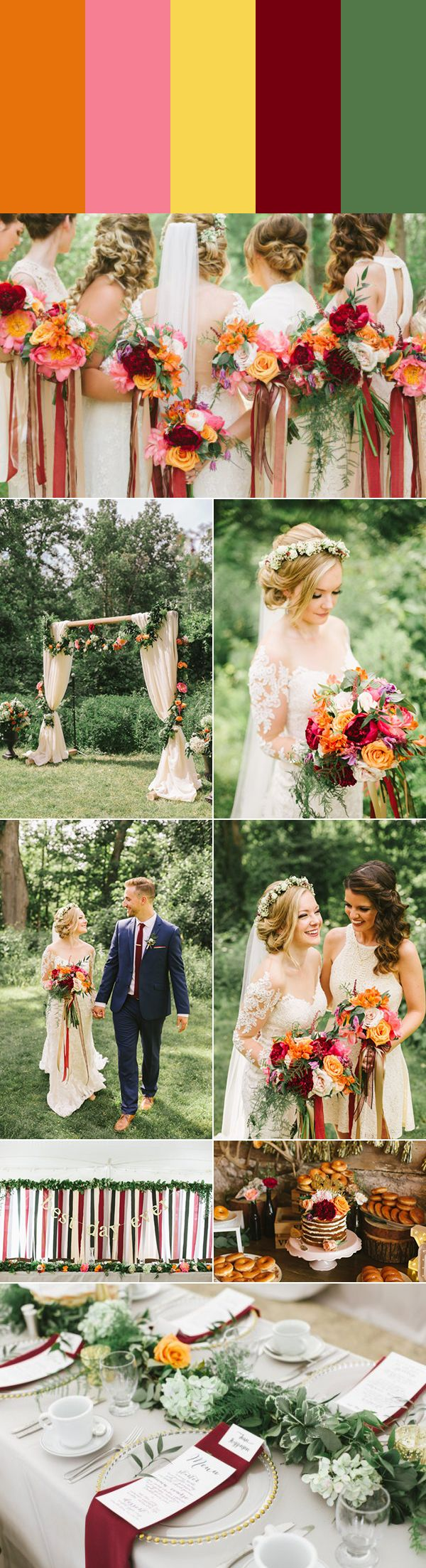 These 5 Orange Wedding Color Palettes are Totally On Trend