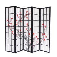 Biombo cerezo en flor negro 5 Paneles