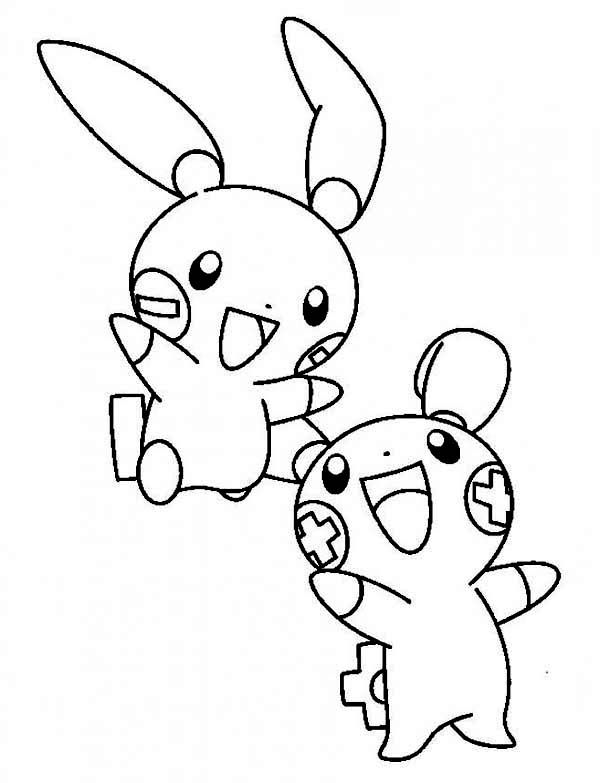 Plusle And Minun Legendary Pokemon Coloring Page