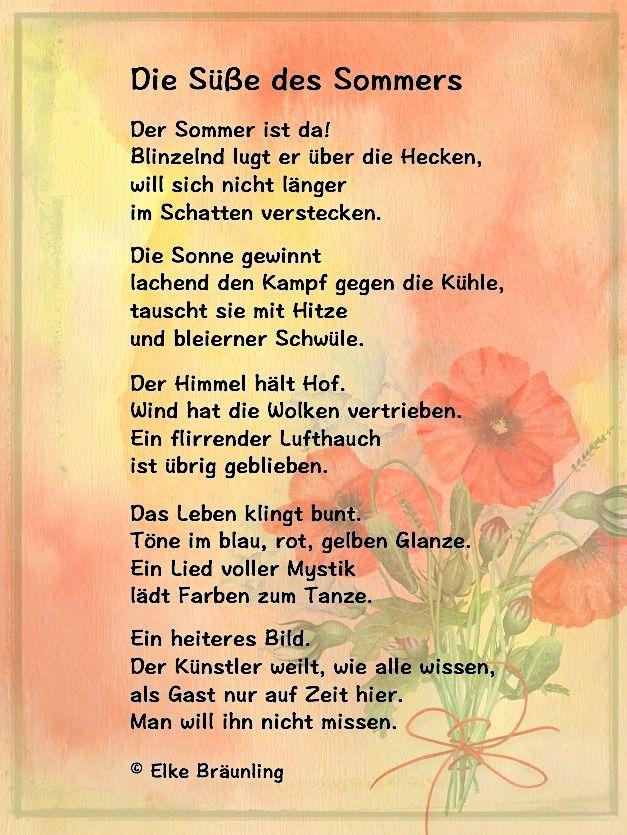 Die Süße Des Sommers Gedicht Sommer Kinder Gedichte Und