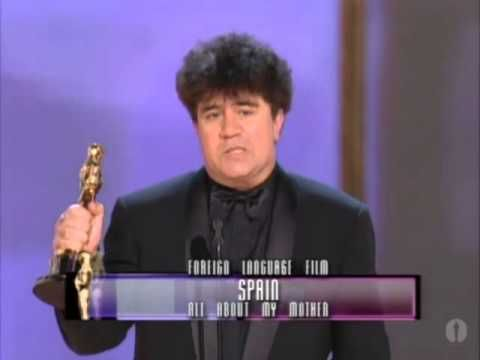 """Pedro Almodóvar accepting the Foreign Language Film Oscar® for """"All abou..."""