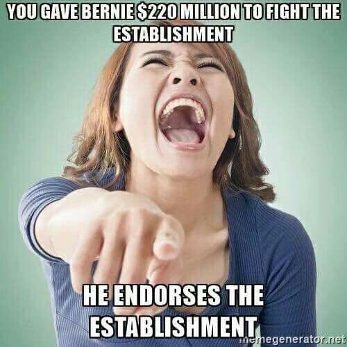 "You gave Bernie Sanders  $220 million to ""fight the establishment,"" and now he's endorsing the establishment!"
