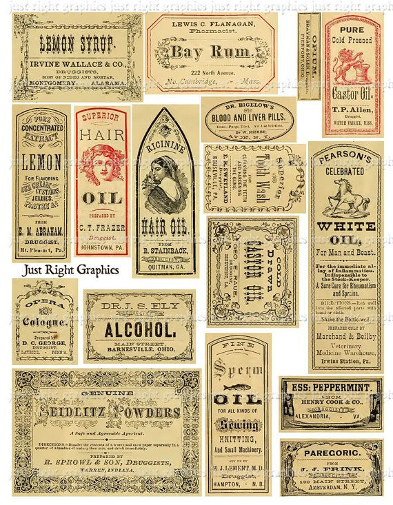 Vintage Apothecary Labels Ephemera Digital by JustRightGraphics
