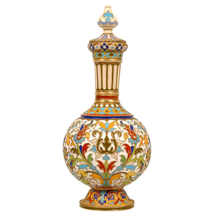 FABERGE Enamel Gold Perfume Flask by Feodor Ruckert | From a unique collection of vintage enamel frames and objects at https://www.1stdibs.com/jewelry/objets-dart-vertu/enamel-frames-objects/