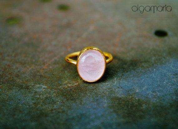 Stacking Ring Roze Quartz Ring Gold Ring by OlgaMaria Jewel Inspirations