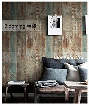 Blooming Wall Vintage Wood Panel Wood Plank Wallpaper Rolls Wall Paper Wall Mural For Livingroom Bedroom Kitchen Bathroom, 20.8 In32.8 Ft=57 Sq.ft, Tan/Blue/Brown/Gray - - Amazon.com