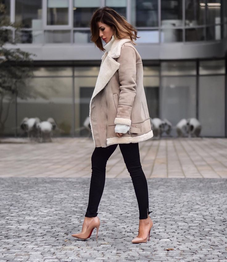 Fall street chic with aviator jacket, skinny jeans and Louboutin shoes.