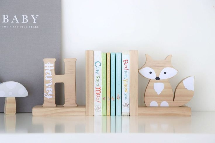 Personalised inital fox bookends