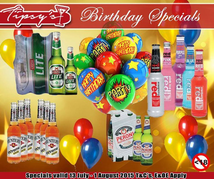 At #TipsysLiquorBoutique we have amazing Birthday deals for this week, a #RedSquare 6-pack for only R59.90 and get either a free Cap or a T-Shirt, #Peroni 4-pack for only R 39,90 and get a free Glass, buy a case of #CastleLite dumpies for only R179.90 or buy two #Hunters Xtreme 6-packs and enter your till slip, to win a cooler box. Prices valid until 1 August 2015 or while…