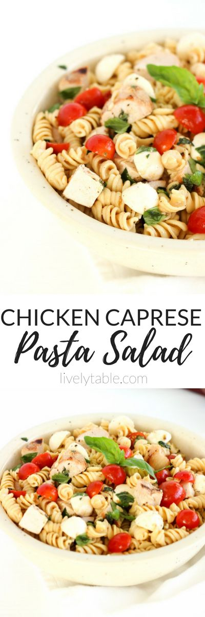 This Chicken Caprese Pasta Salad is a delicious and healthy pasta salad made with tomatoes, basil, mozzarella and whole grain pasta that makes the perfect summer lunch or potluck dish! (gluten-free and vegetarian option)   via livelytable.com