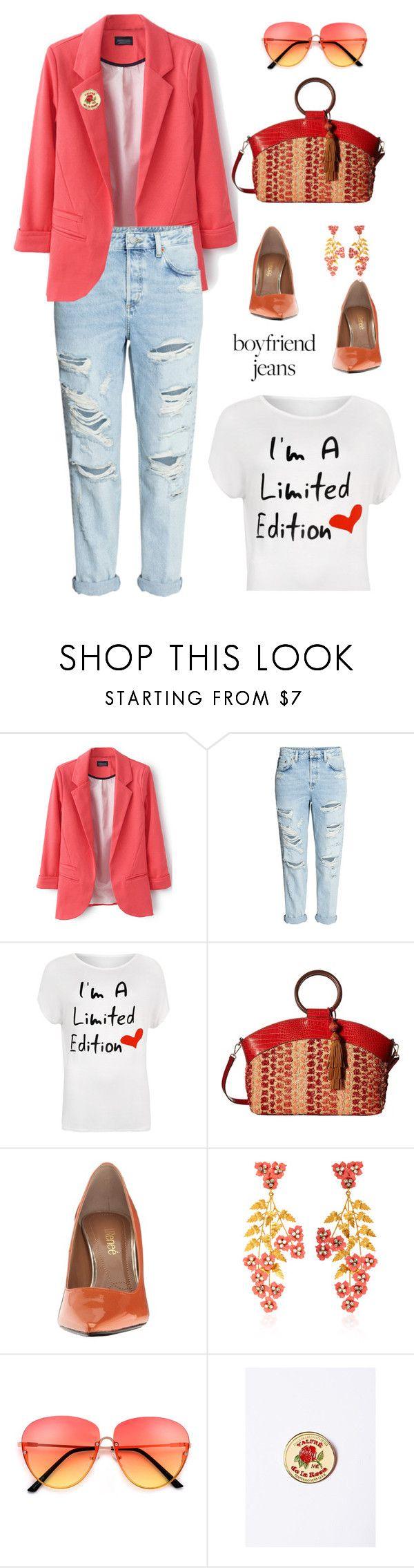 """Boyfriend Jeans"" by lence-59 ❤ liked on Polyvore featuring H&M, WearAll, Sam Edelman, J.Reneé, Jennifer Behr, boyfriendjeans and plus size clothing"