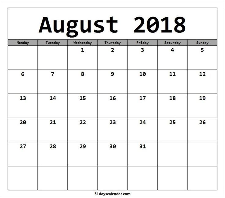available august 2018 calendar starting monday