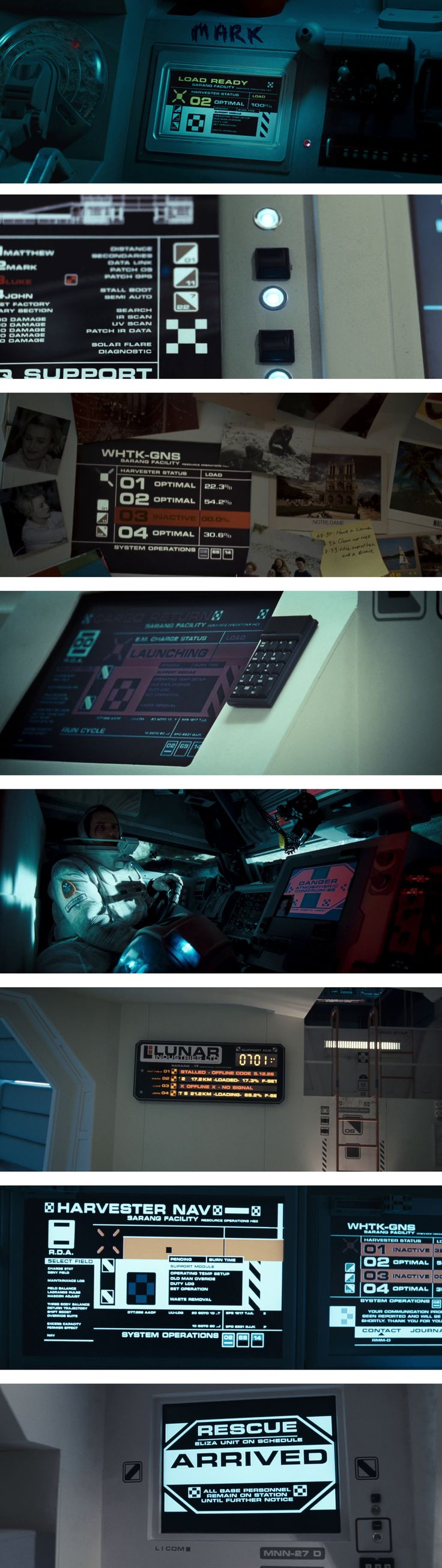 "Status UI (User Interface) for the film ""Moon"" Copyright Lunar Industries Limited. – Screenshots taken by Pinterest user: @fabianzaf"